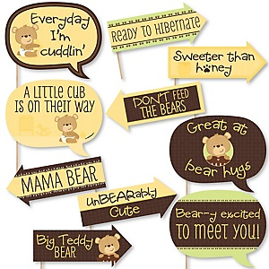 Funny Baby Teddy Bear - 10 Piece Baby Shower Photo Booth Props Kit
