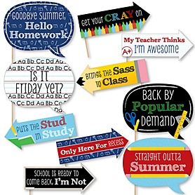 Funny Classic Back To School - 10 Piece 1st Day of School Decorations and Photo Booth Props Kit