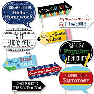Funny Back To School - 10 Piece 1st Day of School Decorations and Photo Booth Props Kit