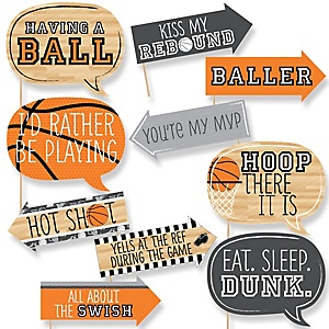 Funny Nothin' But Net - Basketball - 10 Piece Baby Shower or Birthday Party Photo Booth Props Kit