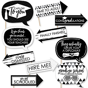 Funny Black and White Grad - Best is Yet to Come - 10 Piece Graduation Party Photo Booth Props Kit