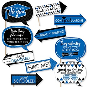 Funny Blue Grad - Best is Yet to Come - 10 Piece Graduation Party Photo Booth Props Kit