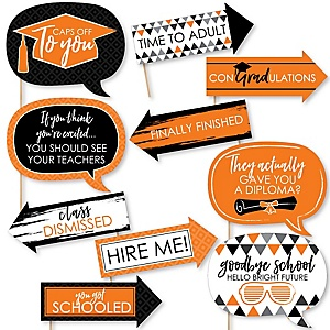 Funny Orange Grad - Best is Yet to Come - 10 Piece Graduation Party Photo Booth Props Kit