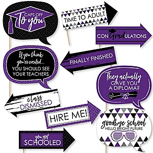 Funny Purple Grad - Best is Yet to Come - 10 Piece Graduation Party Photo Booth Props Kit