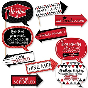 Funny Red Grad - Best is Yet to Come - 10 Piece Graduation Party Photo Booth Props Kit