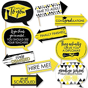 Funny Yellow Grad - Best is Yet to Come - 10 Piece Graduation Party Photo Booth Props Kit