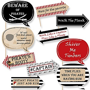 Funny Beware of Pirates - 10 Piece Pirate Birthday Party Booth Props Kit