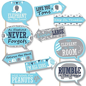 Funny Blue Elephant - 10 Piece Boy Baby Shower or Birthday Party Photo Booth Props Kit