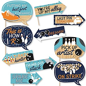 Funny Strike Up the Fun - Bowling - 10 Piece Baby Shower or Birthday Party Photo Booth Props Kit