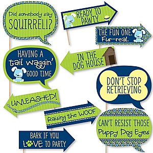 Funny Boy Puppy Dog - 10 Piece Baby Shower or Birthday Party Photo Booth Props Kit