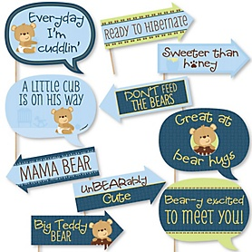 Funny Baby Boy Teddy Bear - 10 Piece Baby Shower Photo Booth Props Kit