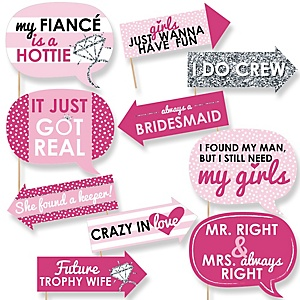 Funny Bride-To-Be - 10 Piece Bridal Shower or Classy  Bachelorette Photo Booth Props Kit