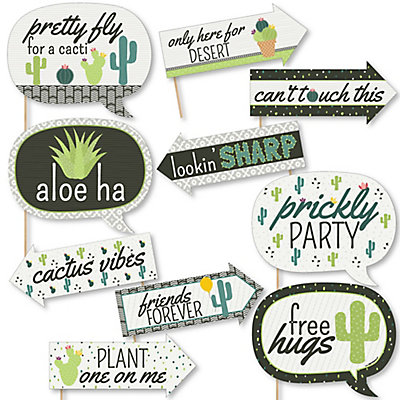 Funny Prickly Cactus Party 10 Piece Fiesta Party Photo Booth Props