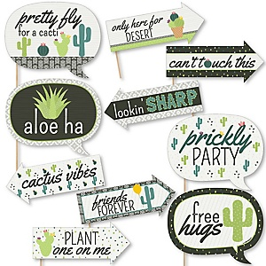 Funny Prickly Cactus Party - 10 Piece Mexican Fiesta Photo Booth Props Kit