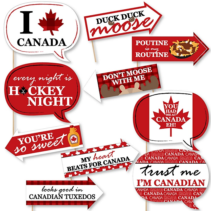 Funny Canada Day - 10 Piece Canadian Party Photo Booth Props Kit