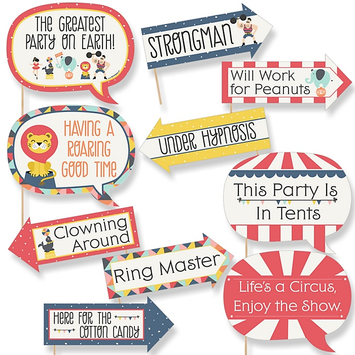 Funny Carnival - Cirque du Soirée - 10 Piece Baby Shower or Birthday Party Photo Booth Props Kit