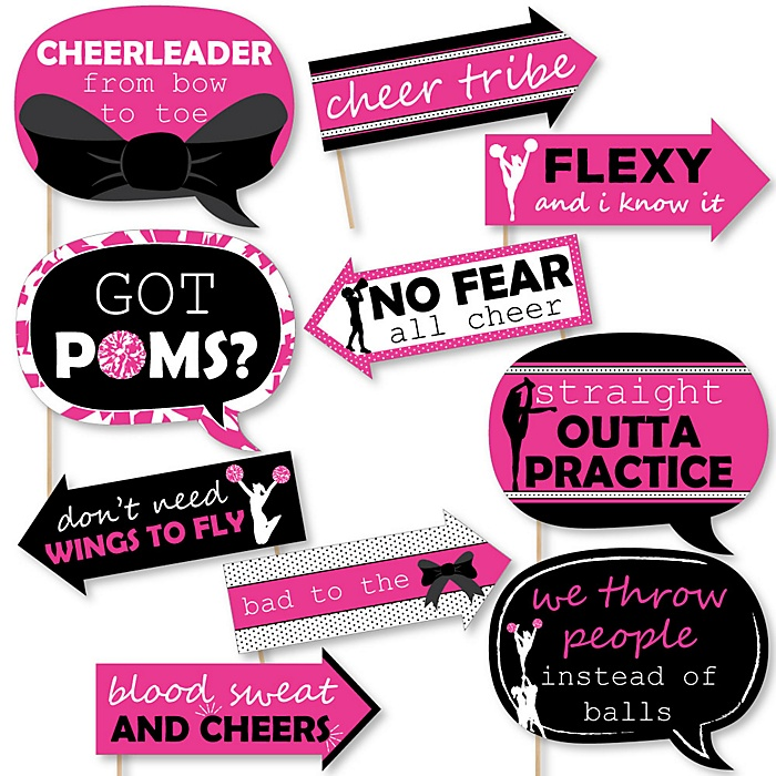 Funny We've Got Spirit - Cheerleading - 10 Piece Birthday Party or Cheerleader Party Photo Booth Props Kit