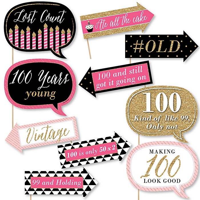 Funny Chic 100th Birthday - Pink, Black and Gold  - 10 Piece Photo Birthday Party Booth Props Kit