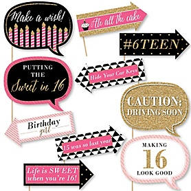 Funny Chic Sweet Sixteen Birthday - Pink, Black and Gold - 10 Piece Photo 16th Birthday Party Booth Props Kit