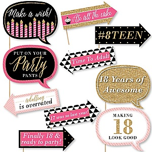 Funny Chic 18th Birthday - Pink, Black and Gold - 10 Piece Photo Birthday Party Booth Props Kit