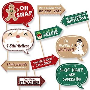 Funny Christmas - 10 Piece  Christmas Photo Booth Props Kit
