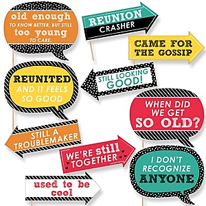 Funny Class Reunion - 10 Piece Photo Booth Props Kit