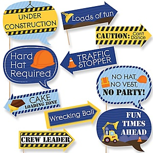 Funny Construction Truck - 10 Piece Baby Shower or Birthday Party Photo Booth Props Kit