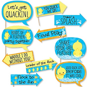 Funny Ducky Duck - 10 Piece Baby Shower or Birthday Party Photo Booth Props Kit