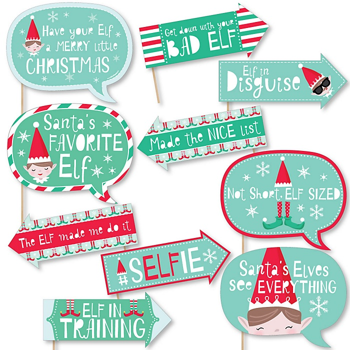 Funny Elf Squad - Kids Elf Christmas and Birthday Party Photo Booth Props Kit - 10 Piece