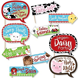 Funny Farm Animals - 10 Piece Baby Shower or Birthday Party Photo Booth Props Kit