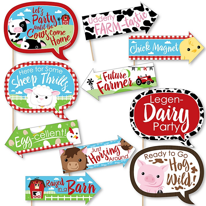Funny Farm Animals - 10 Piece Barnyard Baby Shower or Birthday Party Photo Booth Props Kit