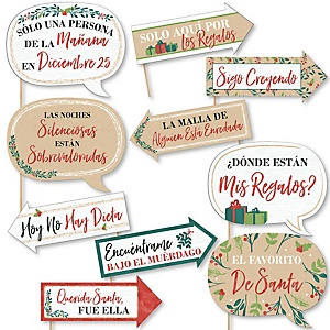Funny Feliz Navidad - 10 Piece Holiday and Spanish Christmas Party Photo Booth Props Kit