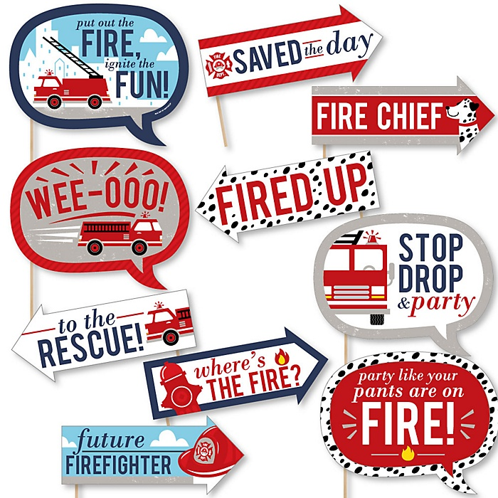 Funny Fired Up Fire Truck - 10 Piece Firefighter Firetruck Baby Shower or Birthday Party Photo Booth Props Kit