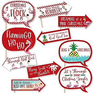 Funny Flamingle Bells - 10 Piece Tropical Flamingo Christmas Photo Booth Props Kit
