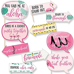 Funny Pink Flamingo - Party Like a Pineapple - 10 Piece Baby, Birthday or Bridal Party Photo Booth Props Kit
