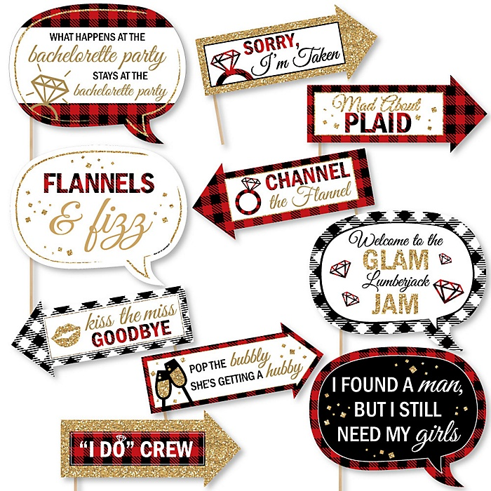 Funny Flannel Fling Before The Ring - 10 Piece Buffalo Plaid Bachelorette Party & Bridal Shower Photo Booth Props Kit