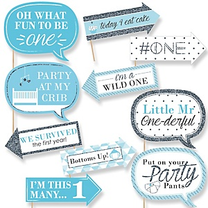 1st Birthday Boy - Funny Fun to be One - 10 Piece Photo First Birthday Party Booth Props Kit