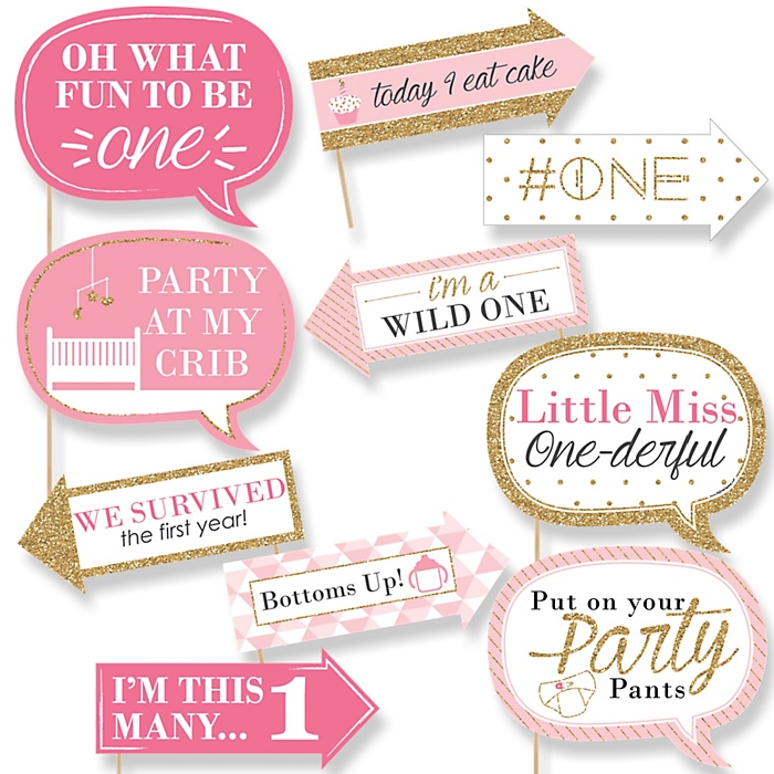 Funny 1st Birthday Girl - Fun to be One - 10 Piece Photo First Birthday Party Booth Props Kit