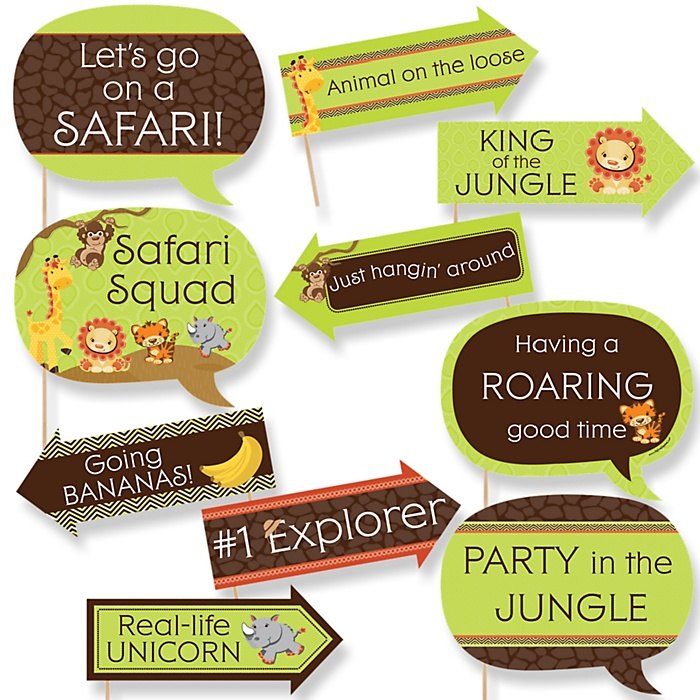 Funny Funfari™ - Fun Safari Jungle - 10 Piece Baby Shower or Birthday Party Photo Booth Props Kit