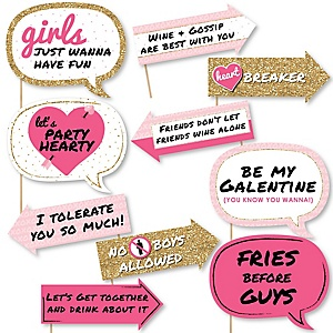 Funny Be My Galentine - Valentine's Day 10 Piece Photo Booth Props Kit
