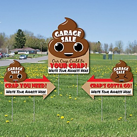 Funny Garage Sale Signs - Our Crap Could Be Your Crap Yard Sign with Stakes - Double Sided Outdoor Lawn Sign - Set of 3
