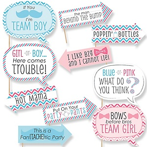 Funny Chevron Gender Reveal - 10 Piece Baby Shower Photo Booth Props Kit