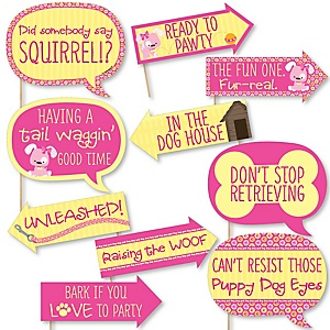 Funny Girl Puppy Dog - 10 Piece Baby Shower or Birthday Party Photo Booth Props Kit