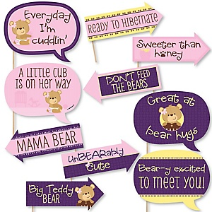 Funny Baby Girl Teddy Bear - 10 Piece Baby Shower Photo Booth Props Kit