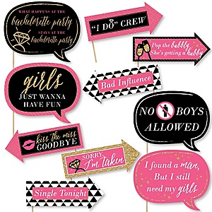 Funny Girls Night Out - 10 Piece Bachelorette Party Photo Booth Props Kit