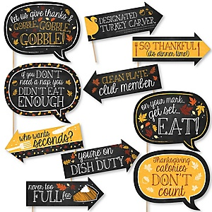 Funny Give Thanks - 10 Piece Thanksgiving Party Photo Booth Props Kit