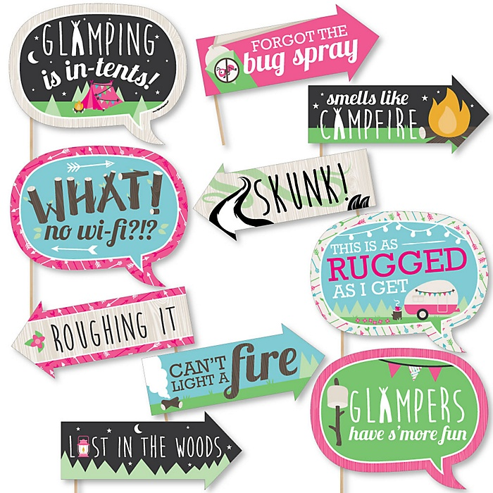 Funny Let's Go Glamping - 10 Piece Camp Glamp Party or Birthday Party Photo Booth Props Kit