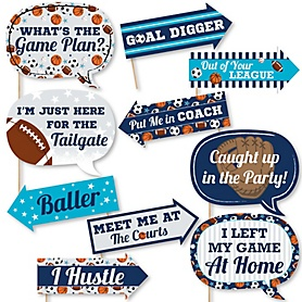 Funny Go, Fight, Win - Sports - 10 Piece Baby Shower or Birthday Party Photo Booth Props Kit