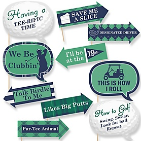 Funny Par-Tee Time - Golf - 10 Piece Photo Booth Props Kit