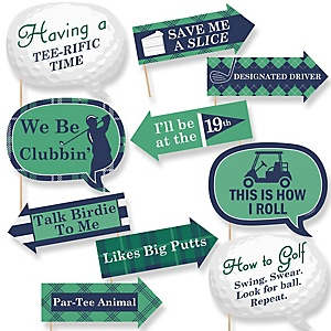 Par-Tee Time - Golf - 10 Piece Baby Shower Photo Booth Props Kit
